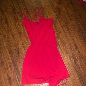 Express red sleeve less wrap dress junior sz 1-2